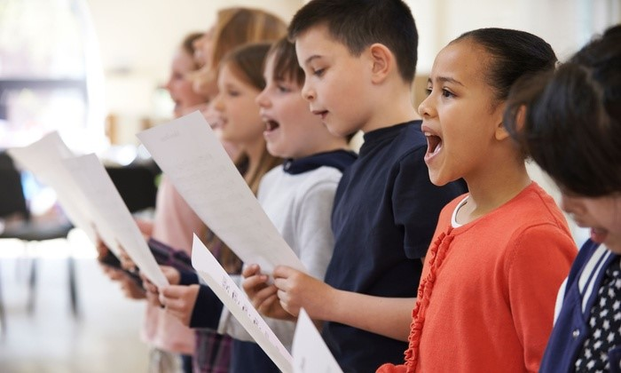 kids singing stock photo