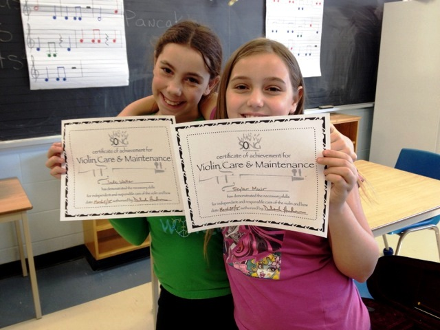 Jade and Skylar certificates, March 2015
